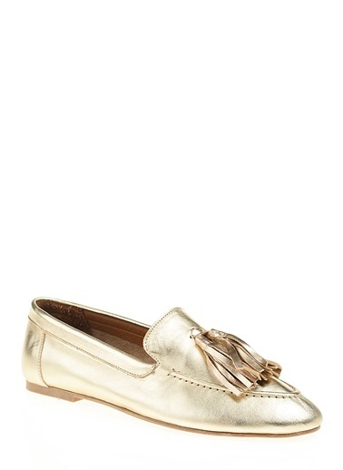 İnci Hakiki Deri Loafer Ayakkabı Altın